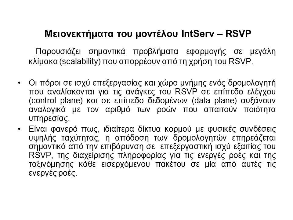 Μειονεκτήματα του μοντέλου IntServ – RSVP