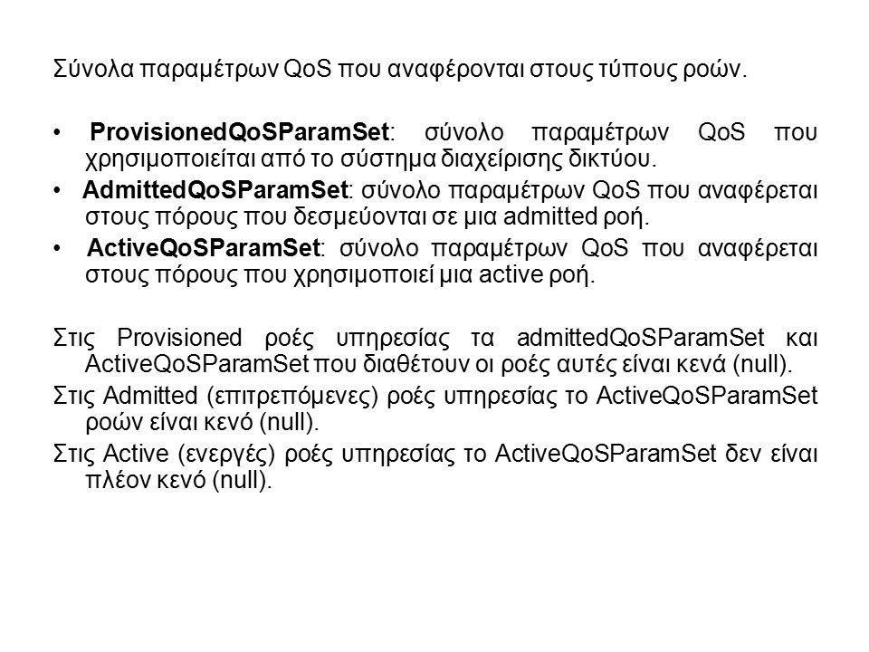 Σύνολα παραμέτρων QoS που αναφέρονται στους τύπους ροών.