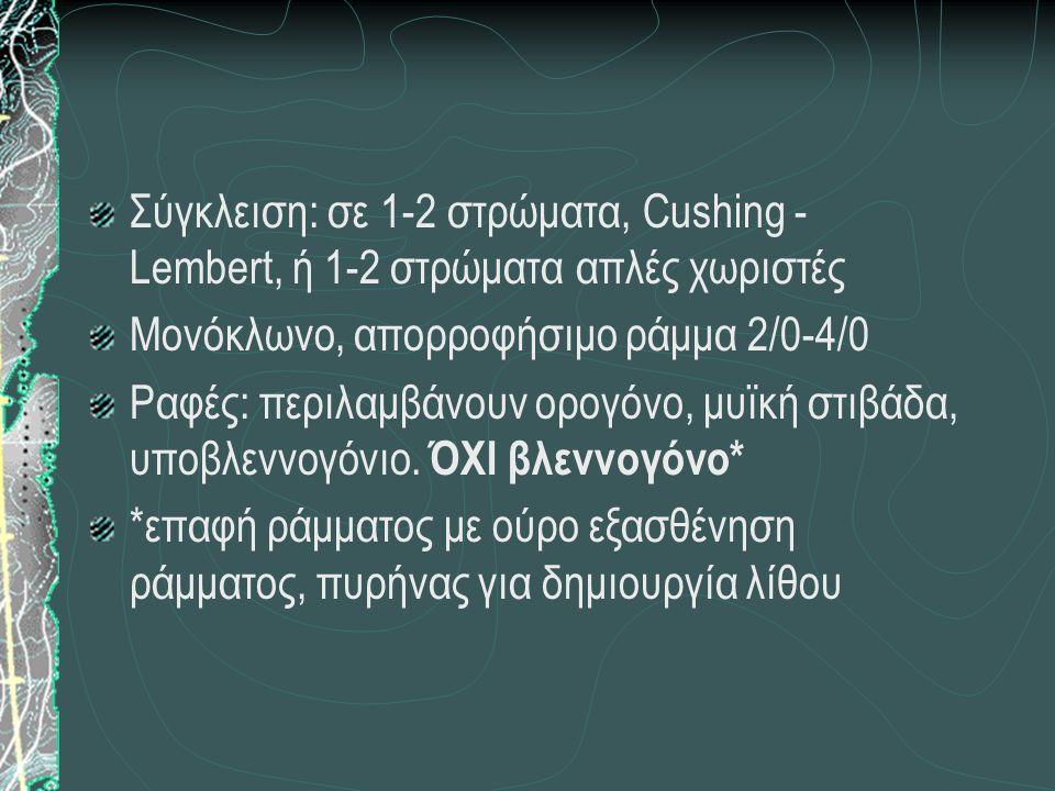 Σύγκλειση: σε 1-2 στρώματα, Cushing - Lembert, ή 1-2 στρώματα απλές χωριστές