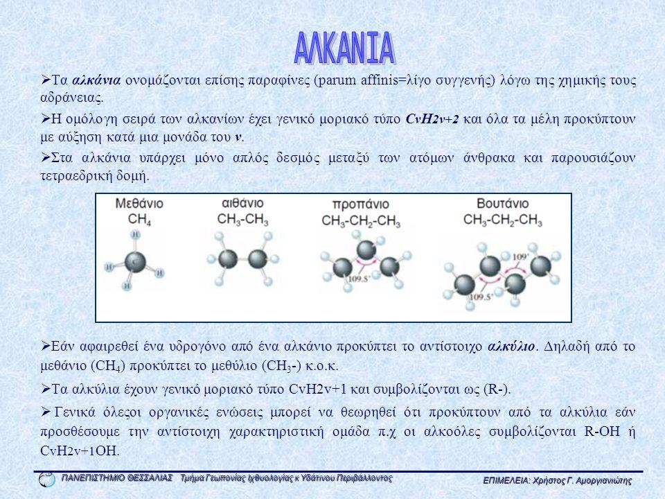 ΑΛΚΑΝΙΑ Τα αλκάνια ονομάζονται επίσης παραφίνες (parum affinis=λίγο συγγενής) λόγω της χημικής τους αδράνειας.