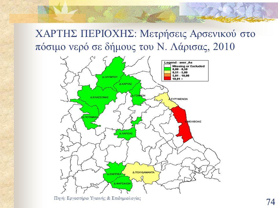 ΧΑΡΤΗΣ ΠΕΡΙΟΧΗΣ: Μετρήσεις Αρσενικού στο πόσιμο νερό σε δήμους του Ν