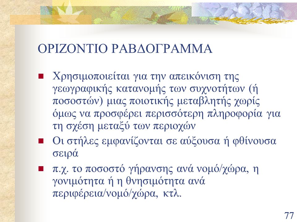 ΟΡΙΖΟΝΤΙΟ ΡΑΒΔΟΓΡΑΜΜΑ