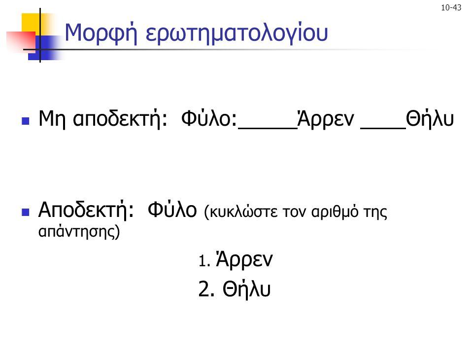 Μορφή ερωτηματολογίου