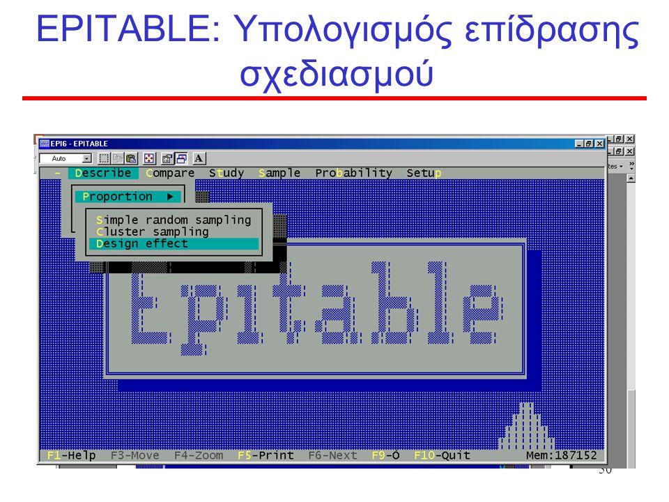 EPITABLE: Υπολογισμός επίδρασης σχεδιασμού