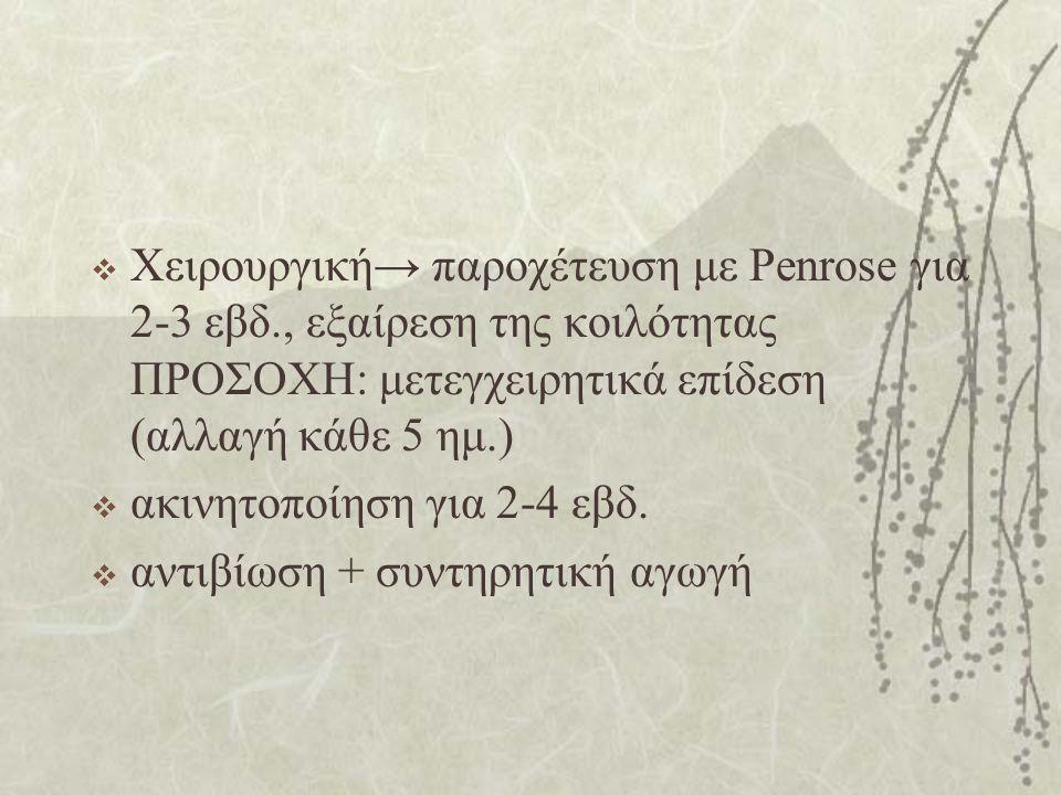 Χειρουργική→ παροχέτευση με Penrose για 2-3 εβδ