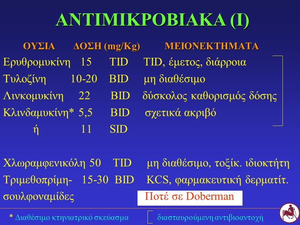 * Διαθέσιμο κτηνιατρικό σκεύασμα διασταυρούμενη αντιβιοαντοχή