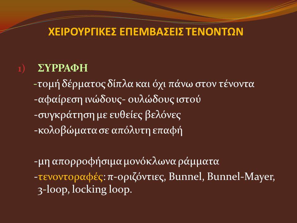 ΧΕΙΡΟΥΡΓΙΚΕΣ ΕΠΕΜΒΑΣΕΙΣ ΤΕΝΟΝΤΩΝ