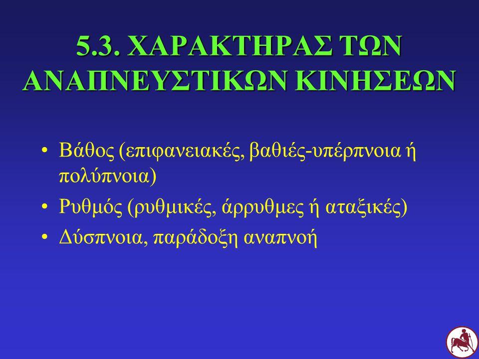 5.3. ΧΑΡΑΚΤΗΡΑΣ ΤΩΝ ΑΝΑΠΝΕΥΣΤΙΚΩΝ ΚΙΝΗΣΕΩΝ