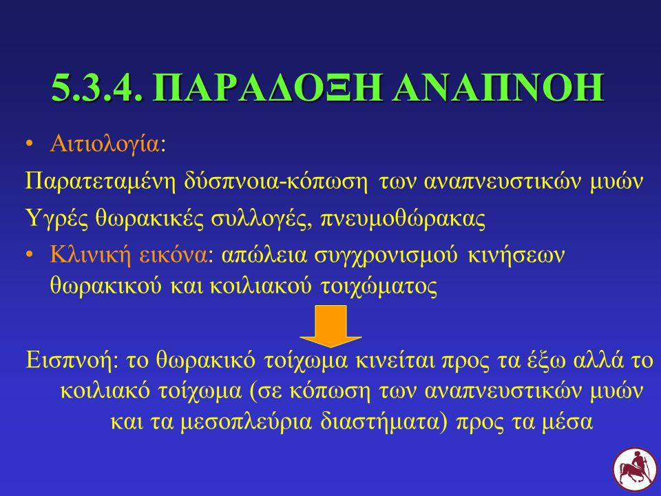 5.3.4. ΠΑΡΑΔΟΞΗ ΑΝΑΠΝΟΗ Αιτιολογία: