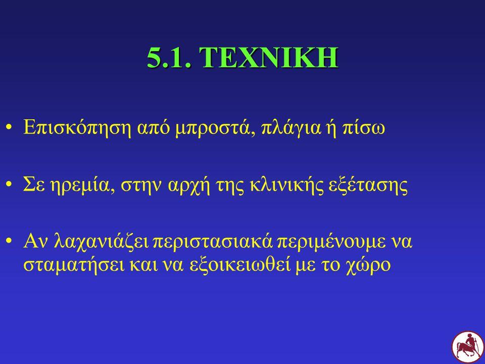 5.1. ΤΕΧΝΙΚΗ Επισκόπηση από μπροστά, πλάγια ή πίσω
