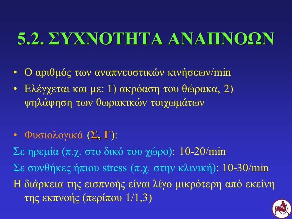 5.2. ΣΥΧΝΟΤΗΤΑ ΑΝΑΠΝΟΩΝ Ο αριθμός των αναπνευστικών κινήσεων/min