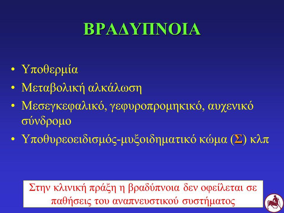 ΒΡΑΔΥΠΝΟΙΑ Υποθερμία Μεταβολική αλκάλωση