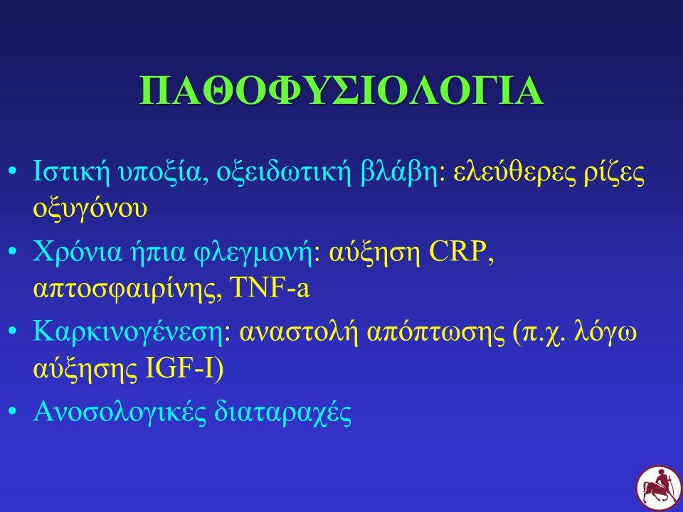 ΠΑΘΟΦΥΣΙΟΛΟΓΙΑ Ιστική υποξία, οξειδωτική βλάβη: ελεύθερες ρίζες οξυγόνου. Χρόνια ήπια φλεγμονή: αύξηση CRP, απτοσφαιρίνης, TNF-a.
