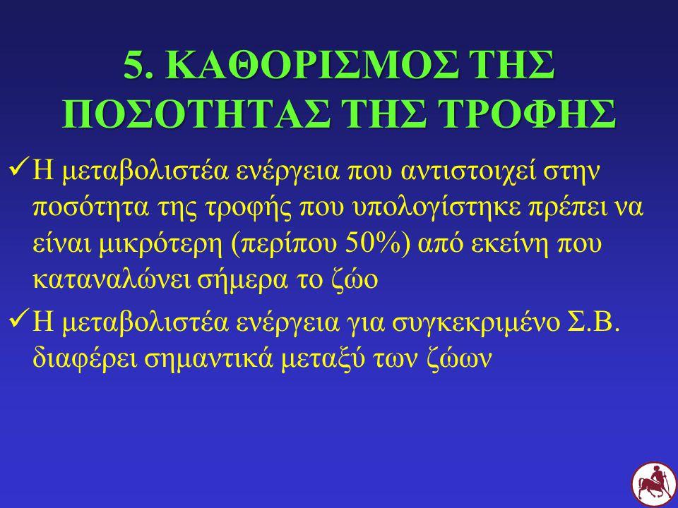 5. ΚΑΘΟΡΙΣΜΟΣ ΤΗΣ ΠΟΣΟΤΗΤΑΣ ΤΗΣ ΤΡΟΦΗΣ