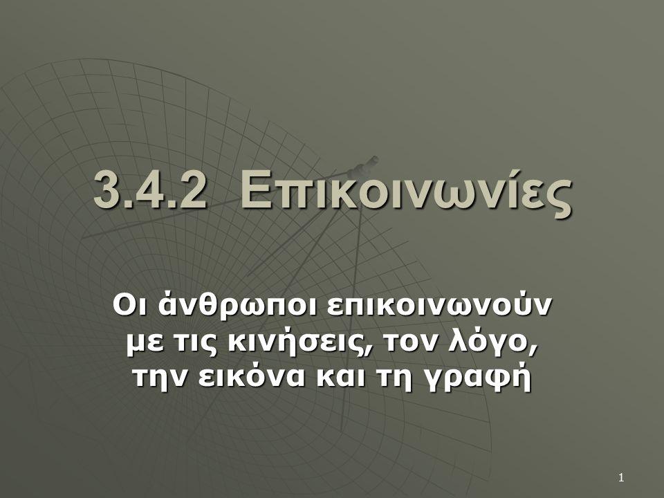 3.4.2 Επικοινωνίες Οι άνθρωποι επικοινωνούν με τις κινήσεις, τον λόγο, την εικόνα και τη γραφή