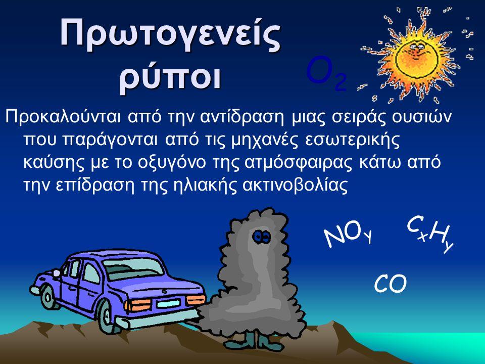 Πρωτογενείς ρύποι O2 CxHy ΝΟy CO