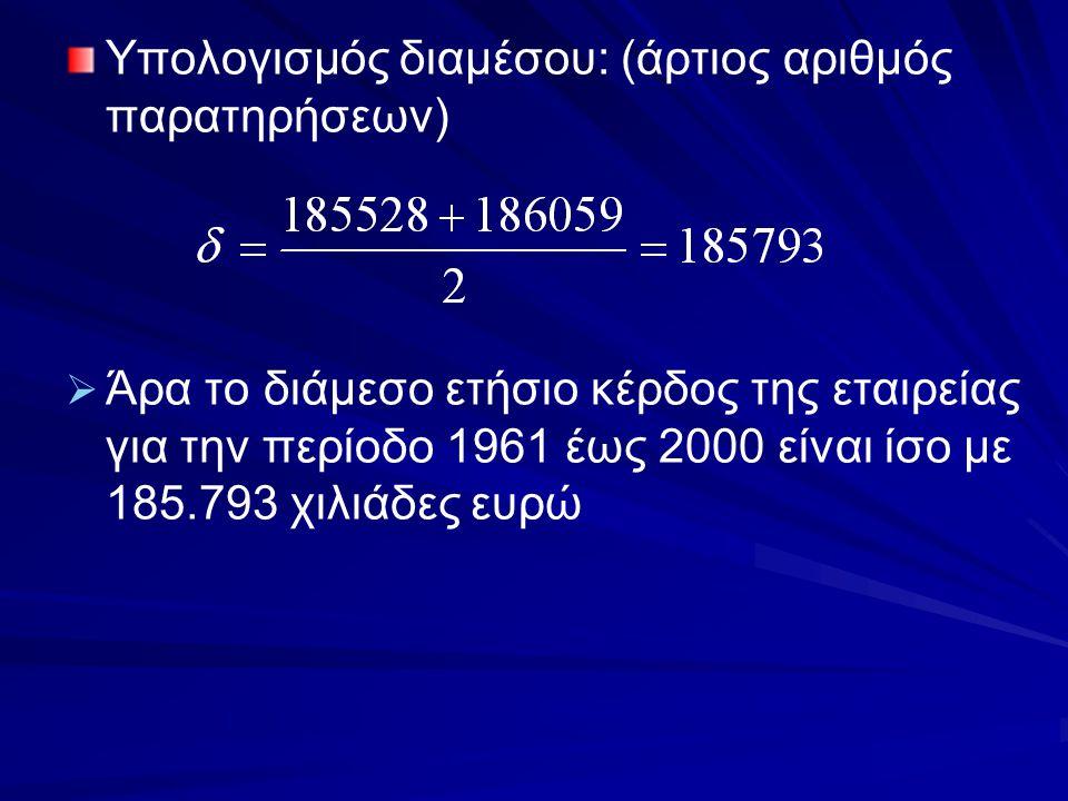Υπολογισμός διαμέσου: (άρτιος αριθμός παρατηρήσεων)