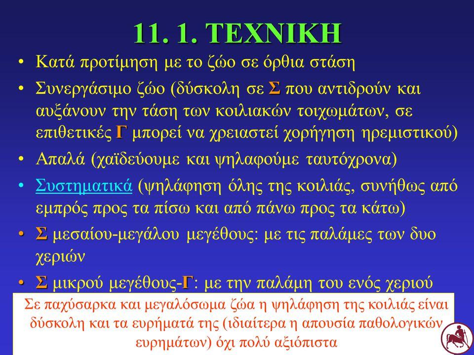 11. 1. ΤΕΧΝΙΚΗ Κατά προτίμηση με το ζώο σε όρθια στάση