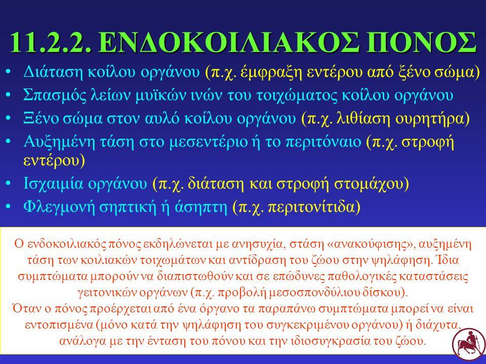 11.2.2. ΕΝΔΟΚΟΙΛΙΑΚΟΣ ΠΟΝΟΣ Διάταση κοίλου οργάνου (π.χ. έμφραξη εντέρου από ξένο σώμα) Σπασμός λείων μυϊκών ινών του τοιχώματος κοίλου οργάνου.