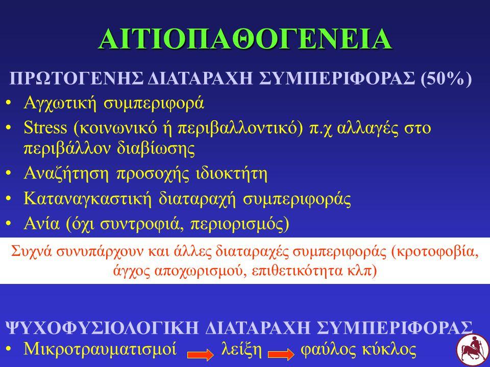 ΑΙΤΙΟΠΑΘΟΓΕΝΕΙΑ ΠΡΩΤΟΓΕΝΗΣ ΔΙΑΤΑΡΑΧΗ ΣΥΜΠΕΡΙΦΟΡΑΣ (50%)