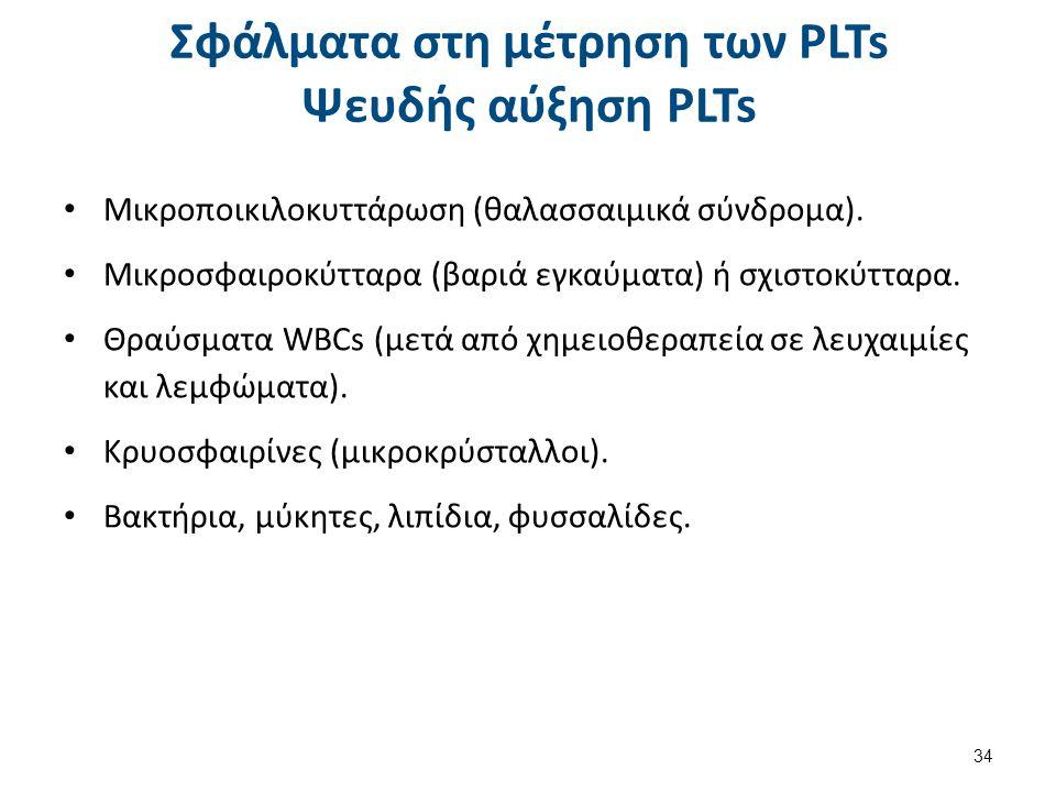 Ψευδή μειωμένα PLTs Πήγμα (αιμοληψία, ανακίνηση, αντιπηκτικό).