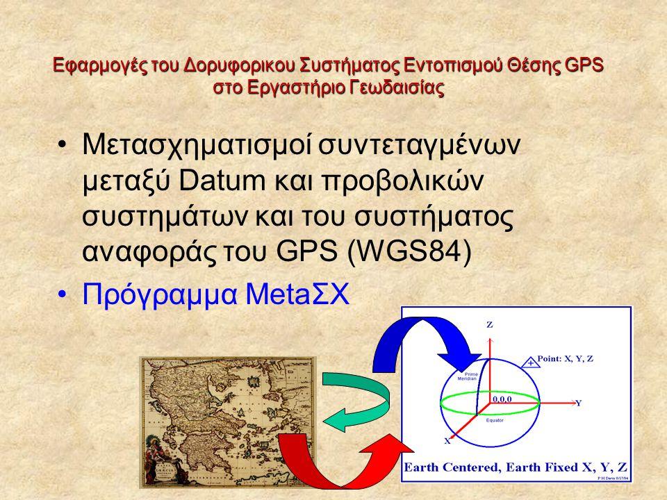 Εφαρμογές του Δορυφορικου Συστήματος Εντοπισμού Θέσης GPS στο Εργαστήριο Γεωδαισίας