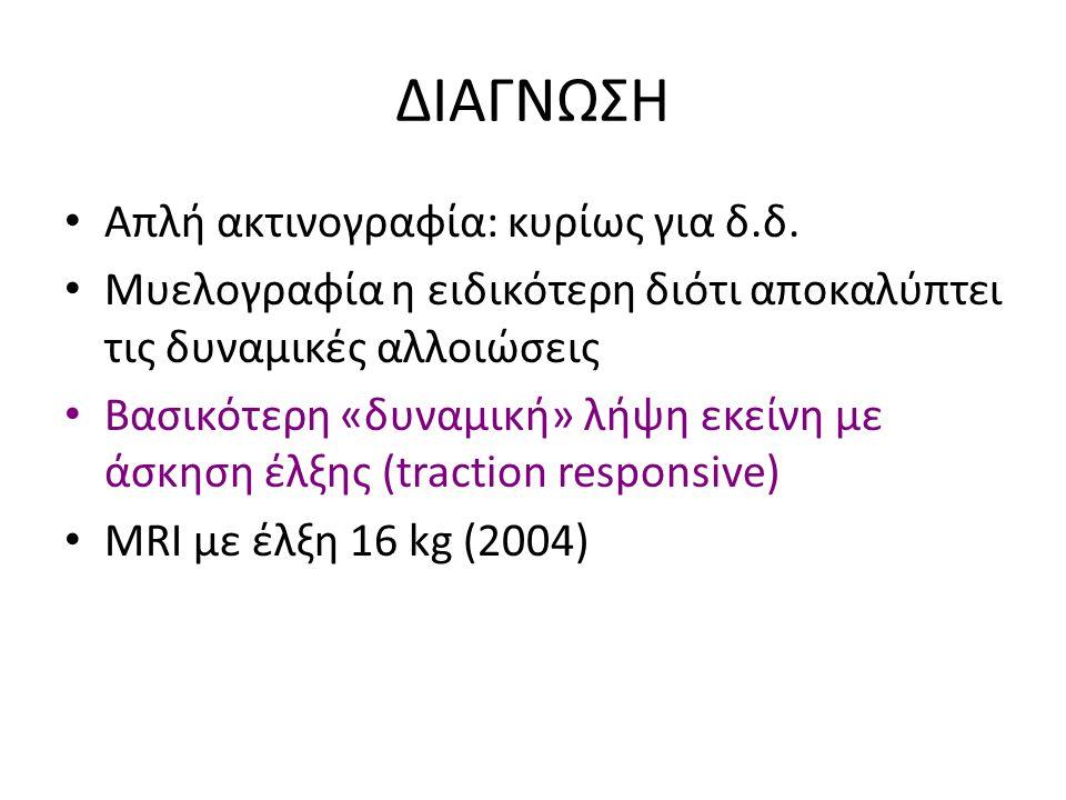 ΔΙΑΓΝΩΣΗ Απλή ακτινογραφία: κυρίως για δ.δ.
