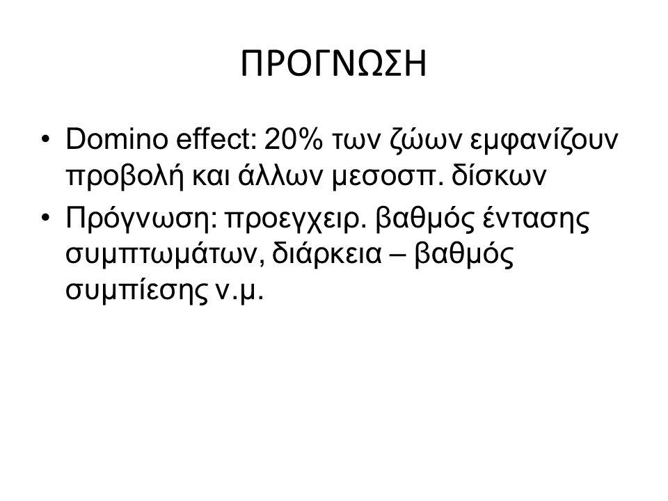 ΠΡΟΓΝΩΣΗ Domino effect: 20% των ζώων εμφανίζουν προβολή και άλλων μεσοσπ. δίσκων.