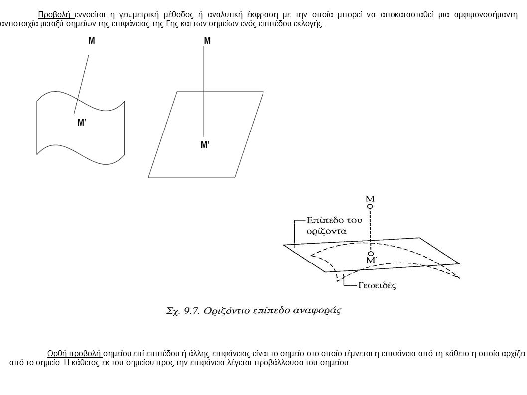 Προβολή εννοείται η γεωμετρική μέθοδος ή αναλυτική έκφραση με την οποία μπορεί να αποκατασταθεί μια αμφιμονοσήμαντη αντιστοιχία μεταξύ σημείων της επιφάνειας της Γης και των σημείων ενός επιπέδου εκλογής.