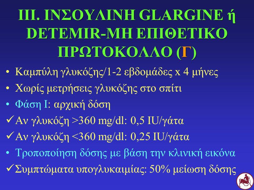 ΙΙΙ. ΙΝΣΟΥΛΙΝΗ GLARGINE ή DETEMIR-ΜΗ ΕΠΙΘΕΤΙΚΟ ΠΡΩΤΟΚΟΛΛΟ (Γ)