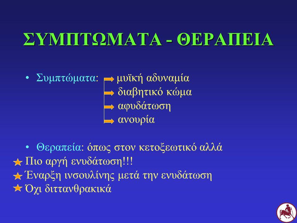ΣΥΜΠΤΩΜΑΤΑ - ΘΕΡΑΠΕΙΑ Συμπτώματα: μυϊκή αδυναμία διαβητικό κώμα