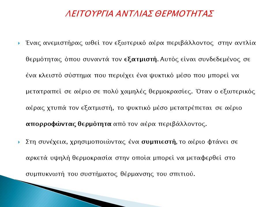 ΛΕΙΤΟΥΡΓΙΑ ΑΝΤΛΙΑΣ ΘΕΡΜΟΤΗΤΑΣ