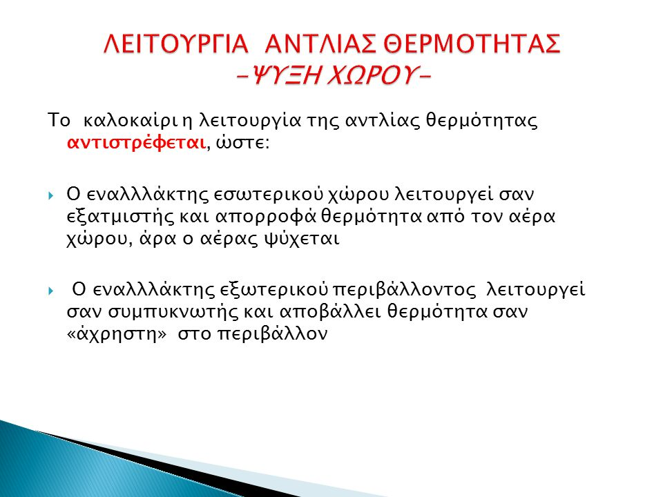 ΛΕΙΤΟΥΡΓΙΑ ΑΝΤΛΙΑΣ ΘΕΡΜΟΤΗΤΑΣ -ΨΥΞΗ ΧΩΡΟΥ-