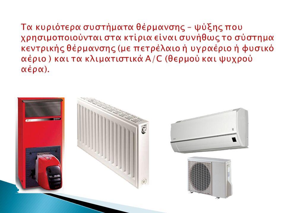 Τα κυριότερα συστήματα θέρμανσης – ψύξης που χρησιμοποιούνται στα κτίρια είναι συνήθως το σύστημα κεντρικής θέρμανσης (με πετρέλαιο ή υγραέριο ή φυσικό αέριο ) και τα κλιματιστικά A/C (θερμού και ψυχρού αέρα).