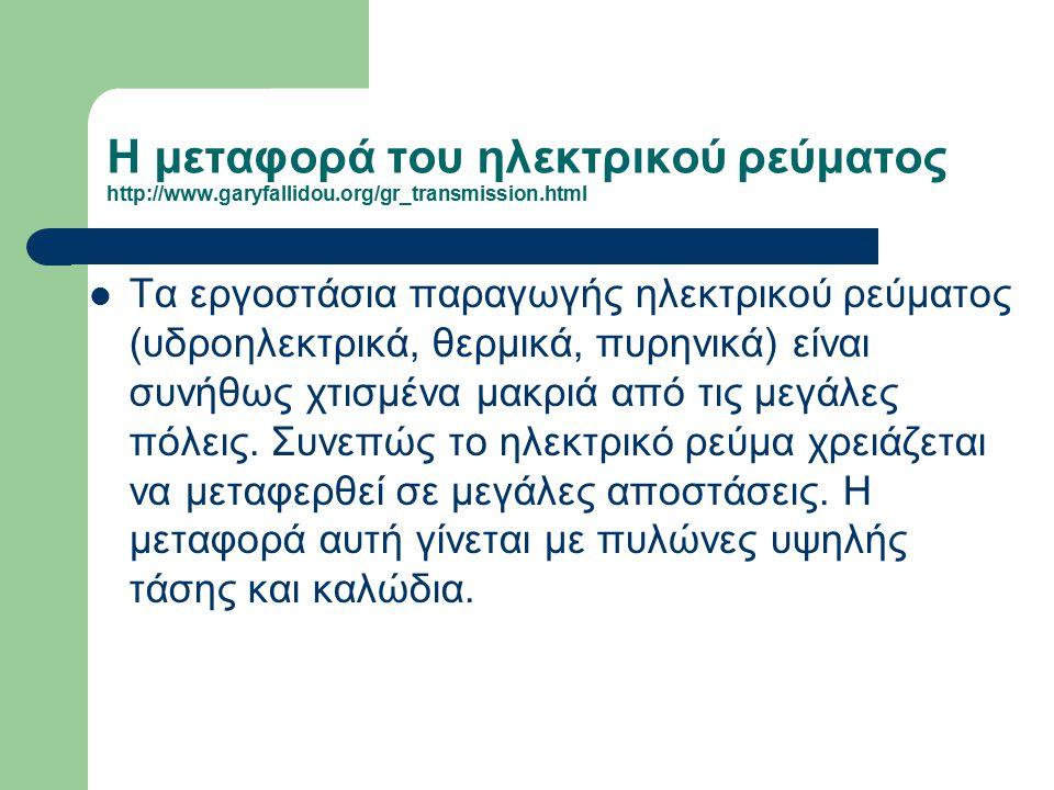 Η μεταφορά του ηλεκτρικού ρεύματος http://www. garyfallidou