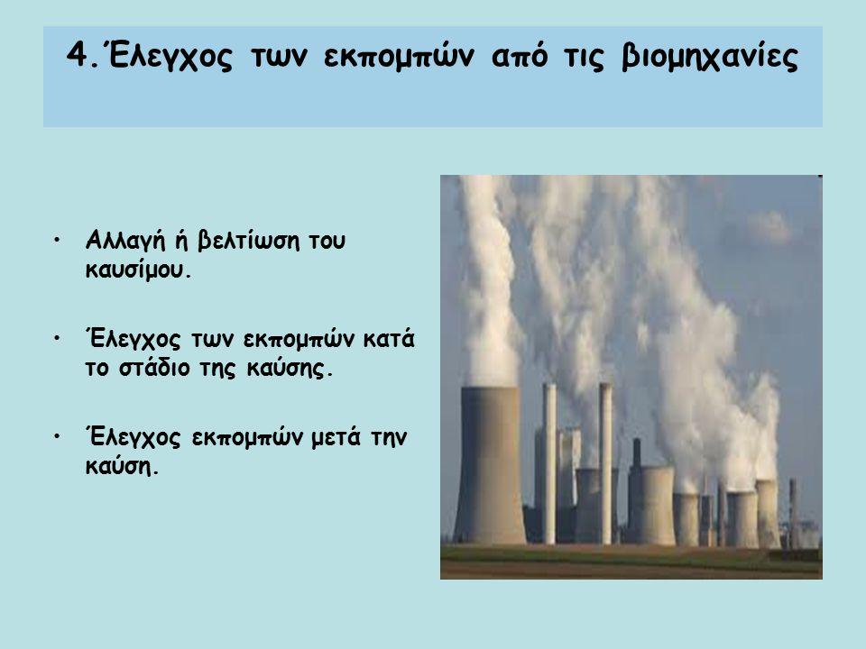 4.Έλεγχος των εκπομπών από τις βιομηχανίες