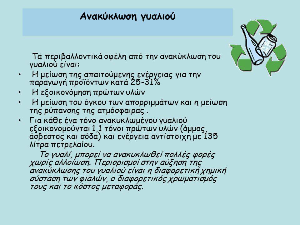Ανακύκλωση γυαλιού Τα περιβαλλοντικά οφέλη από την ανακύκλωση του γυαλιού είναι: