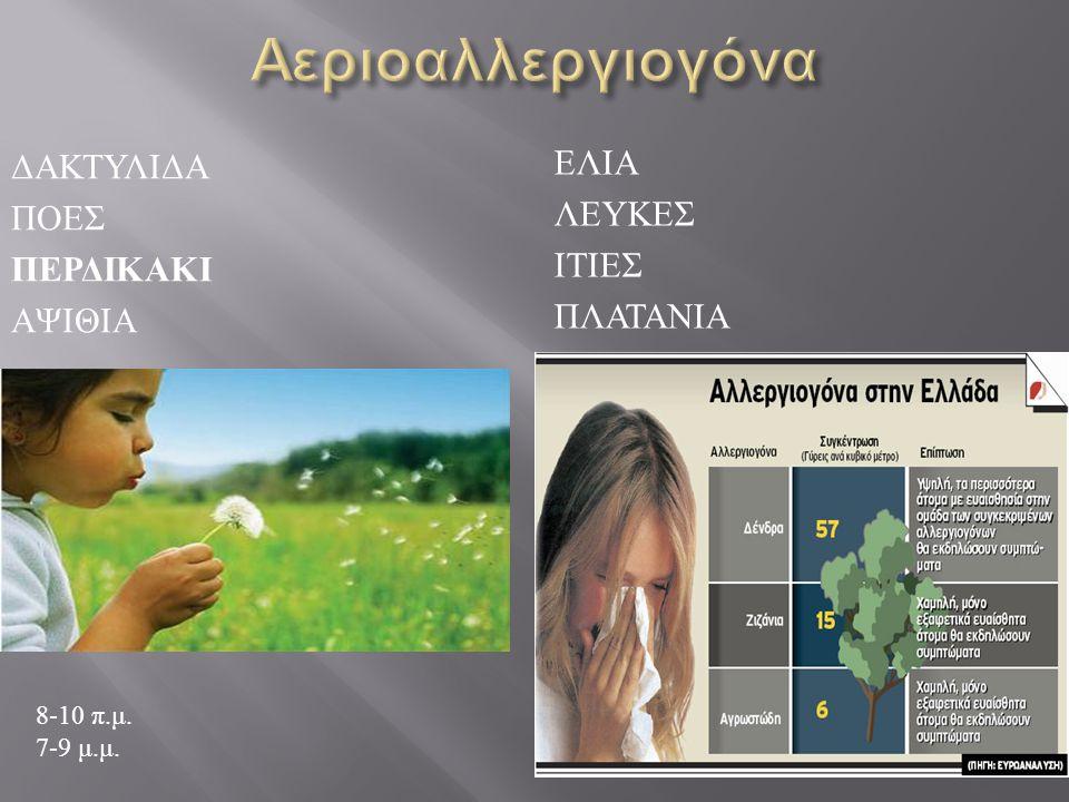 Αεριοαλλεργιογόνα Δακτυλιδα Ελια Ποες Λευκες περδικακι Ιτιες αψιθια