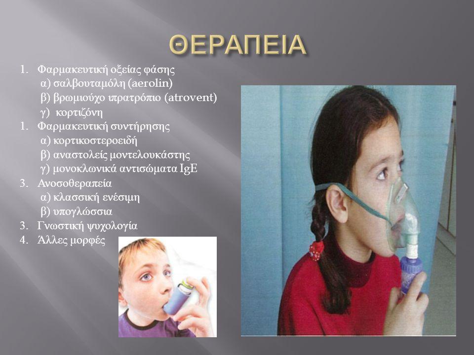 ΘΕΡΑΠΕΙΑ Φαρμακευτική οξείας φάσης α) σαλβουταμόλη (aerolin)