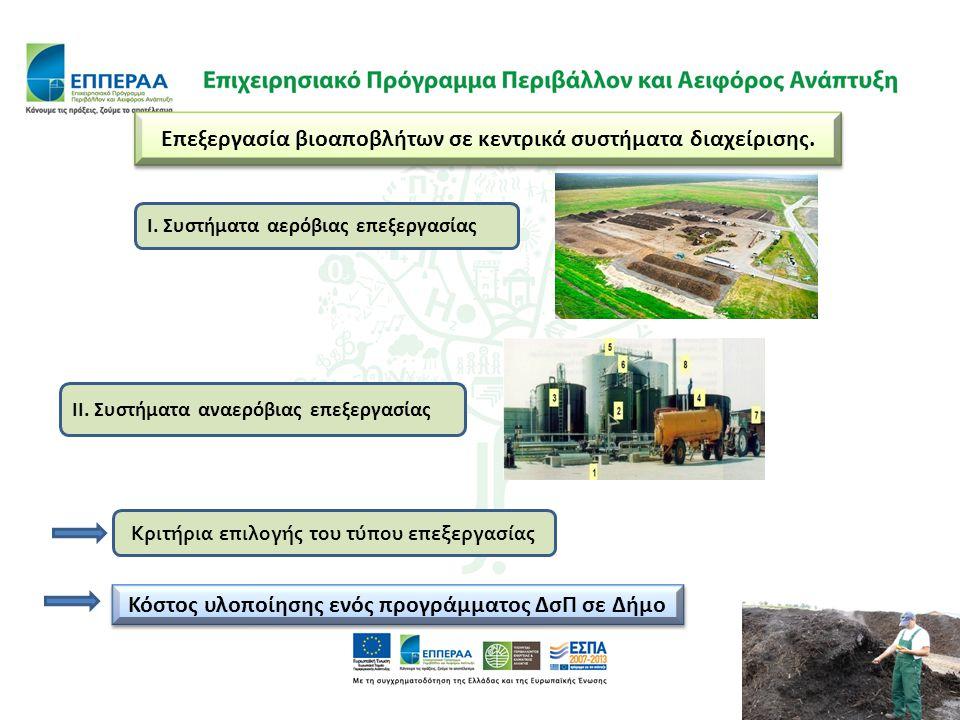 Επεξεργασία βιοαποβλήτων σε κεντρικά συστήματα διαχείρισης.
