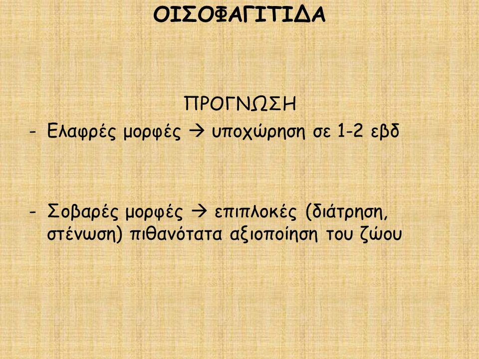 ΟΙΣΟΦΑΓΙΤΙΔΑ ΠΡΟΓΝΩΣΗ Ελαφρές μορφές  υποχώρηση σε 1-2 εβδ