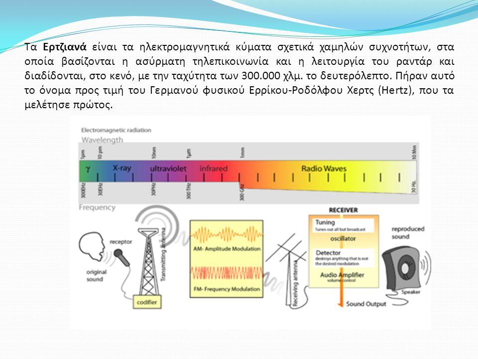 Tα Ερτζιανά είναι τα ηλεκτρομαγνητικά κύματα σχετικά χαμηλών συχνοτήτων, στα οποία βασίζονται η ασύρματη τηλεπικοινωνία και η λειτουργία του ραντάρ και διαδίδονται, στο κενό, με την ταχύτητα των 300.000 χλμ.
