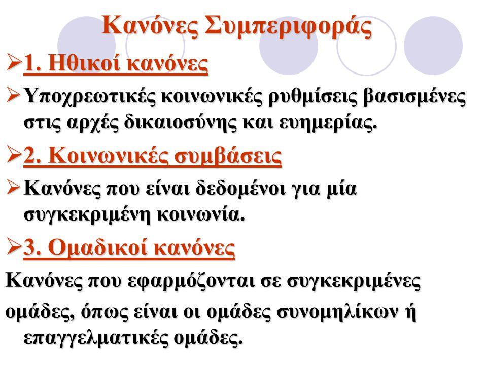 Κανόνες Συμπεριφοράς 1. Ηθικοί κανόνες 2. Κοινωνικές συμβάσεις