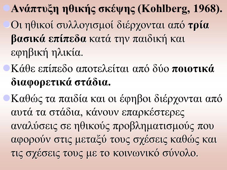 Ανάπτυξη ηθικής σκέψης (Kohlberg, 1968).