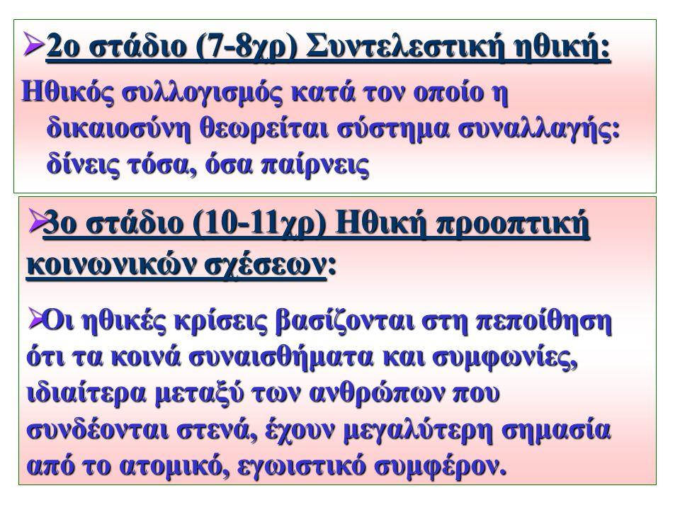 2ο στάδιο (7-8χρ) Συντελεστική ηθική: