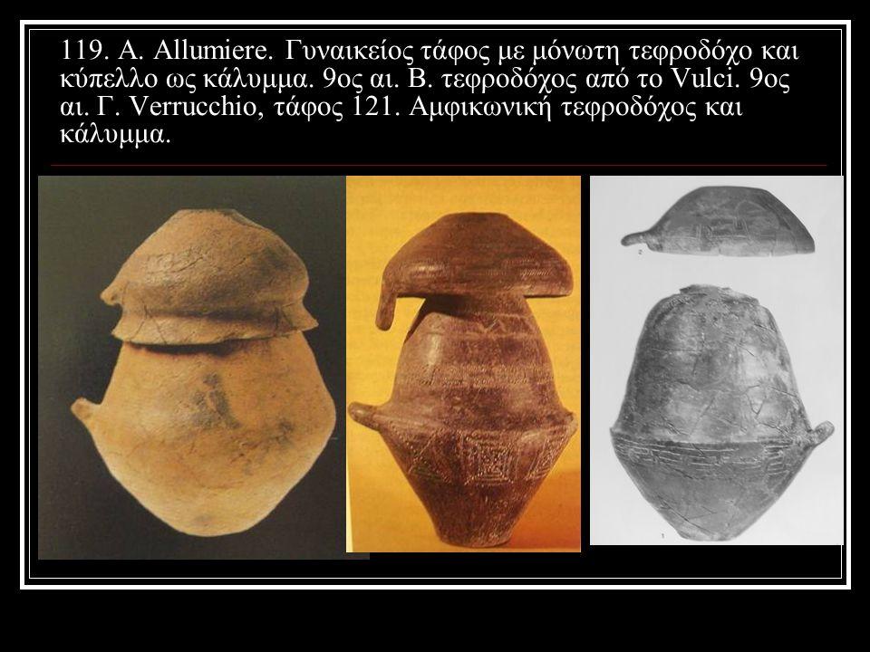 119. Α. Allumiere. Γυναικείος τάφος με μόνωτη τεφροδόχο και κύπελλο ως κάλυμμα.