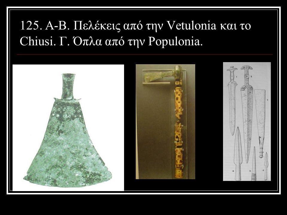 125. Α-Β. Πελέκεις από την Vetulonia και το Chiusi. Γ