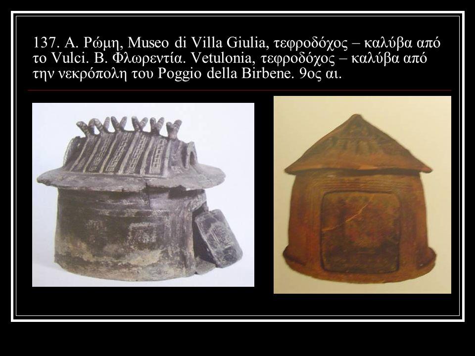 137. A. Ρώμη, Museo di Villa Giulia, τεφροδόχος – καλύβα από το Vulci