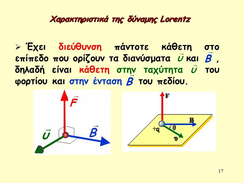 Χαρακτηριστικά της δύναμης Lorentz