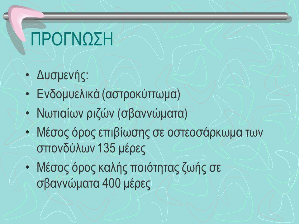 ΠΡΟΓΝΩΣΗ Δυσμενής: Ενδομυελικά (αστροκύττωμα)